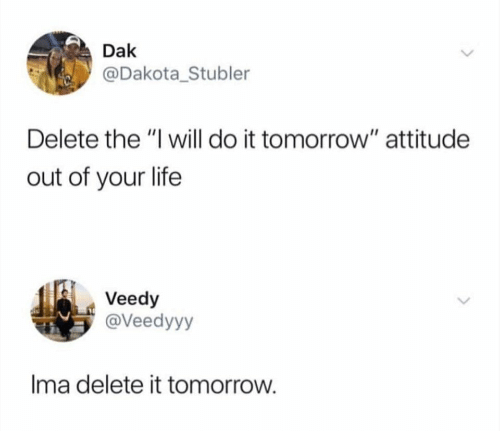 "Delete It: Dak  @Dakota_Stubler  Delete the ""I will do it tomorrow"" attitude  out of your life  Veedy  @Veedyyy  Ima delete it tomorrow."
