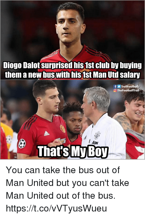 man united: Dalot surprised nis 1st club by buying  them a new buswith his1st Man Utdl salary  Diogo  fTrollFootball  OTheFootballTroll  Thats My B0y You can take the bus out of Man United but you can't take Man United out of the bus. https://t.co/vVTyusWueu