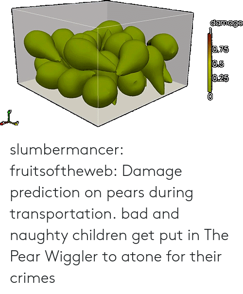 Bad, Children, and Target: damage slumbermancer: fruitsoftheweb:  Damage prediction on pears during transportation.  bad and naughty children get put in The Pear Wiggler to atone for their crimes