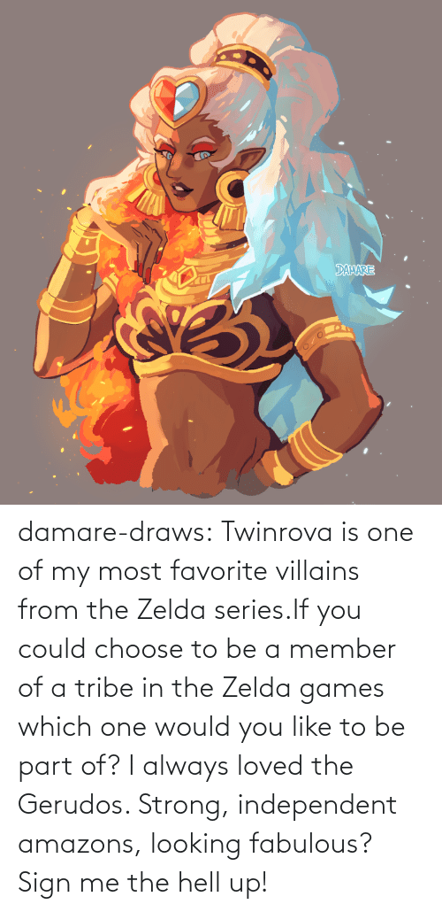 Favorite: damare-draws:    Twinrova is one of my most favorite villains from the Zelda series.If you could choose to be a member of a tribe in the Zelda games which one would you like to be part of? I always loved the Gerudos. Strong, independent amazons, looking fabulous? Sign me the hell up!