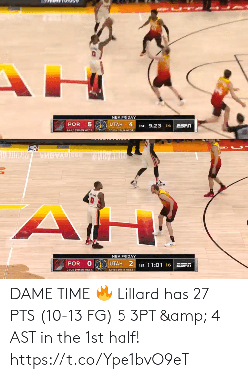 pts: DAME TIME 🔥  Lillard has 27 PTS (10-13 FG) 5 3PT & 4 AST in the 1st half!   https://t.co/Ype1bvO9eT