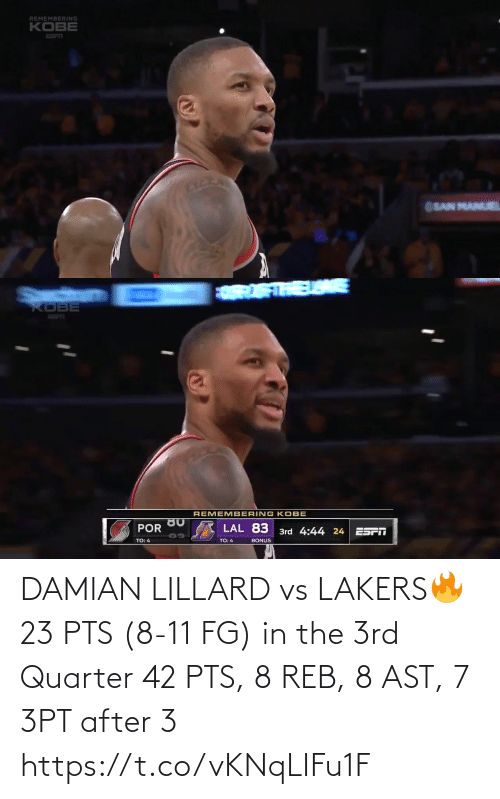 reb: DAMIAN LILLARD vs LAKERS🔥 23 PTS (8-11 FG) in the 3rd Quarter 42 PTS, 8 REB, 8 AST, 7 3PT after 3   https://t.co/vKNqLIFu1F