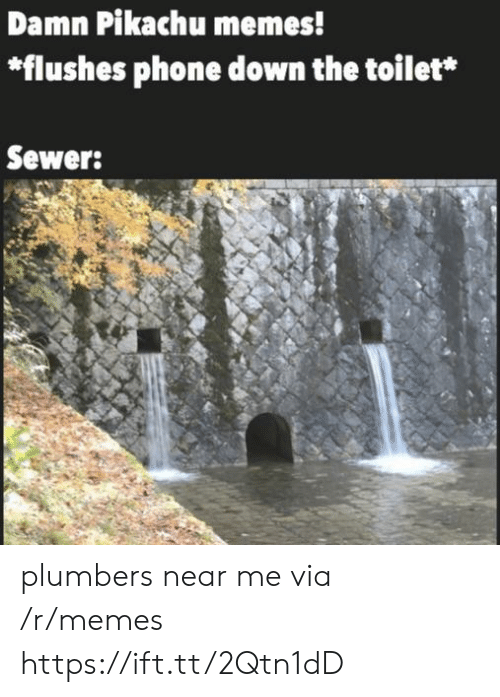 Pikachu Memes: Damn Pikachu memes!  *flushes phone down the toilet*  Sewer: plumbers near me via /r/memes https://ift.tt/2Qtn1dD