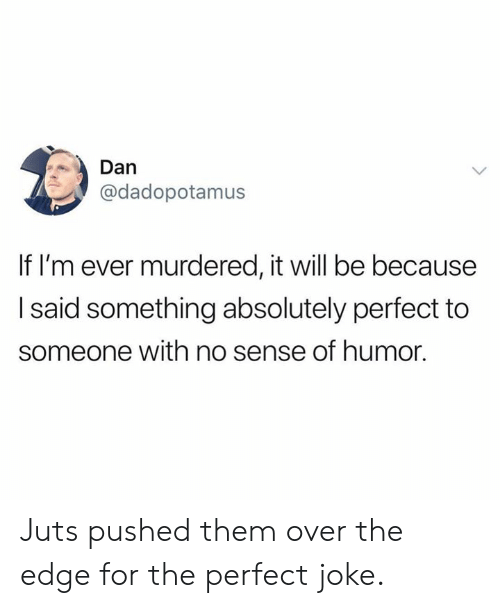 Dank, 🤖, and Edge: Dan  @dadopotamus  If I'm ever murdered, it will be because  I said something absolutely perfect to  someone with no sense of humor. Juts pushed them over the edge for the perfect joke.