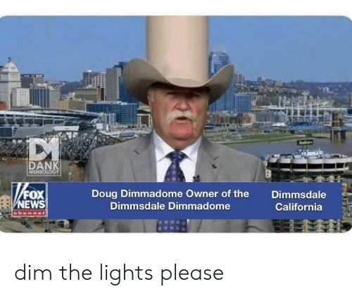 Doug, California, and Fox: DAN  FOX  EWS  Doug Dimmadome Owner of the  Dimmsdale Dimmadome  Dimmsdale  California dim the lights please