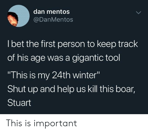 "gigantic: dan mentos  @DanMentos  l bet the first person to keep track  of his age was a gigantic tool  This is my 24th winter""  Shut up and help us kill this boar,  Stuart This is important"