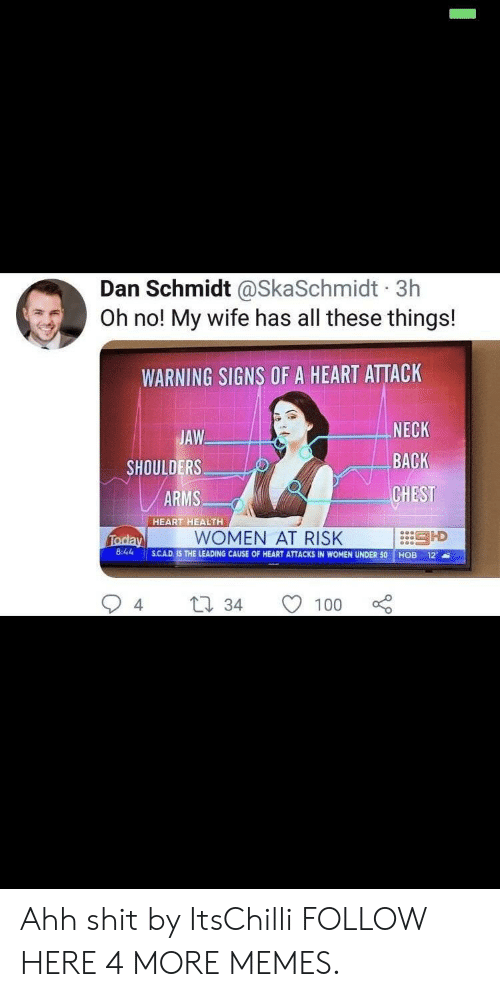 cad: Dan Schmidt @SkaSchmidt 3h  Oh no! My wife has all these things!  WARNING SIGNS OF A HEART ATTACK  JAW  SHOULDERS  ARMS  NECK  BACK  CHEST  :::引D  HEART HEALTH  WOMEN AT RISK  8:44 SCAD.  S.CAD. IS THE LEADING CAUSE OF HEART ATTACKS IN WOMEN UNDER 50 HOB 12  4  34 1  100 Ahh shit by ItsChilli FOLLOW HERE 4 MORE MEMES.