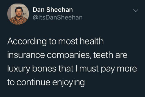 Bones, Dank, and Health Insurance: Dan Sheeharn  @ItsDanSheehan  According to most health  insurance companies, teeth are  luxury bones that I must pay more  to continue enjoying
