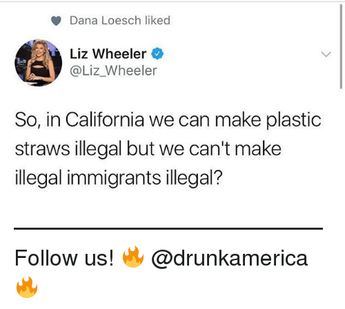 Memes, California, and 🤖: Dana Loesch liked  Liz Wheeler  @Liz_Wheeler  So, in California we can make plastic  straws illegal but we can't make  illegal immigrants illegal? —————————————— Follow us! 🔥 @drunkamerica 🔥