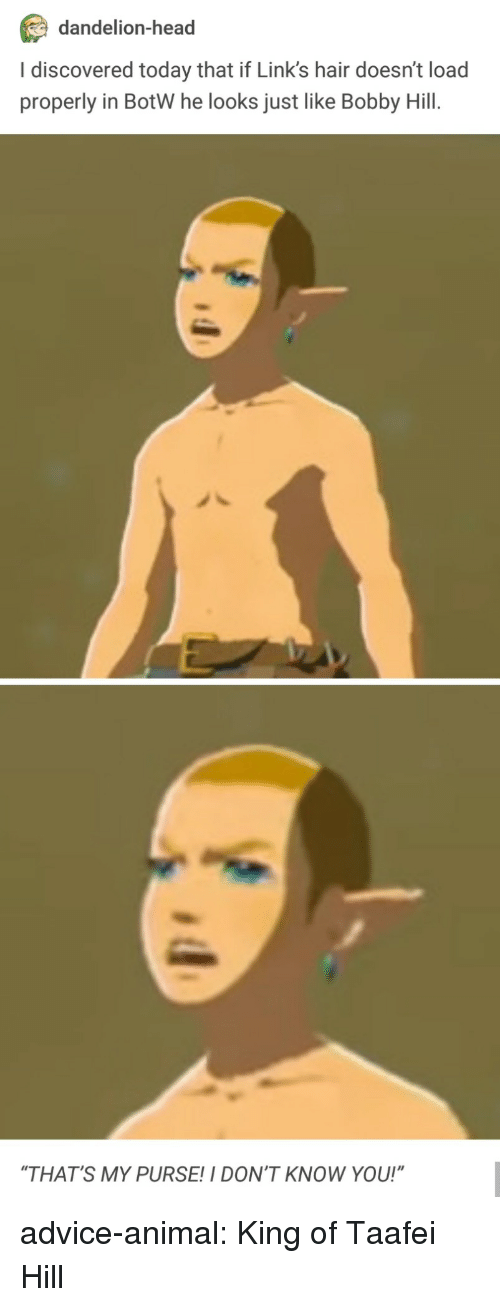 "Advice, Head, and Tumblr: dandelion-head  I discovered today that if Link's hair doesn't load  properly in BotW he looks just like Bobby Hill.  ""THAT'S MY PURSE!I DON'T KNOW YOU!"" advice-animal:  King of Taafei Hill"