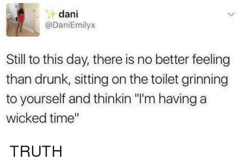 """Grinning: dani  @DaniEmilyx  Still to this day, there is no better feeling  than drunk, sitting on the toilet grinning  to yourself and thinkin """"'m having a  wicked time"""" TRUTH"""