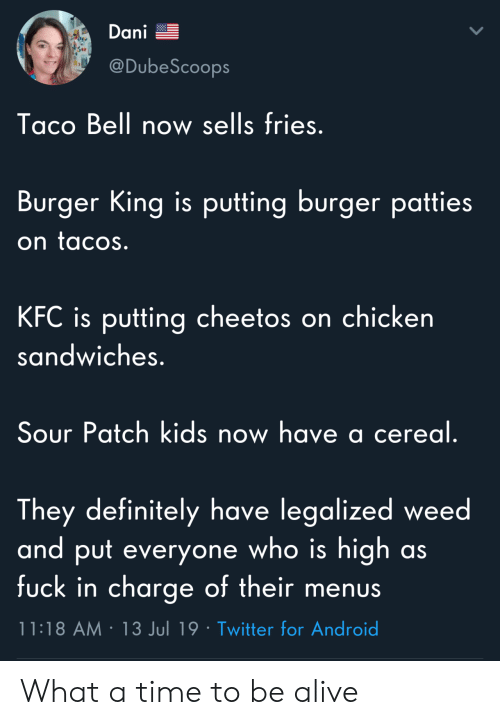 Cheetos: Dani  @DubeScoops  Taco Bell now sells fries.  Burger King is putting burger patties  on tacos.  KFC is putting cheetos on chicken  sandwiches.  Sour Patch kids now have a cereal.  They definitely have legalized weed  and put everyone who is high  fuck in charge of their menus  as  11:18 AM 13 Jul 19 Twitter for Android What a time to be alive