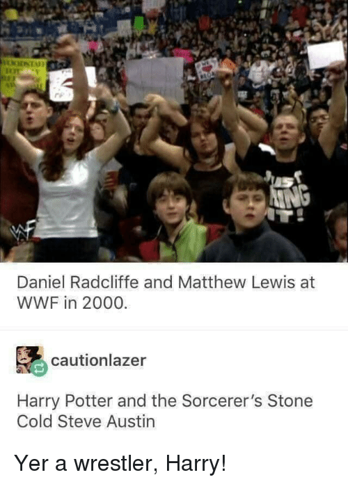 Wrestler: Daniel Radcliffe and Matthew Lewis at  WWF in 2000.  cautionlazer  Harry Potter and the Sorcerer's Stone  Cold Steve Austin Yer a wrestler, Harry!