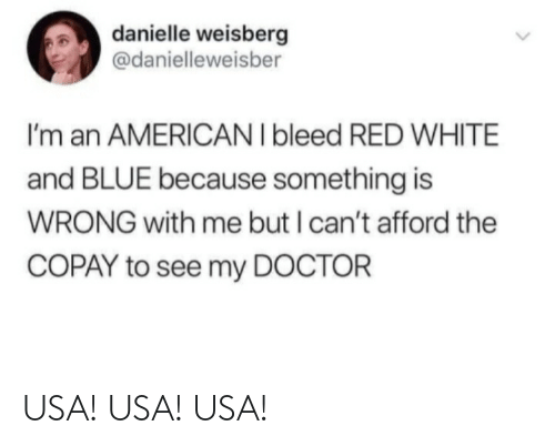 Afford: danielle weisberg  @danielleweisber  I'm an AMERICAN I bleed RED WHITE  and BLUE because something is  WRONG with me but I can't afford the  COPAY to see my DOCTOR USA! USA! USA!