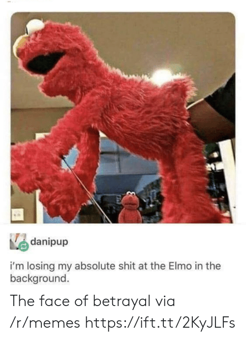 Elmo: danipup  i'm losing my absolute shit at the Elmo in the  background The face of betrayal via /r/memes https://ift.tt/2KyJLFs