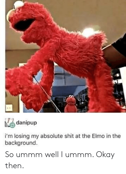 Elmo: danipup  i'm losing my absolute shit at the Elmo in the  background So ummm well I ummm. Okay then.