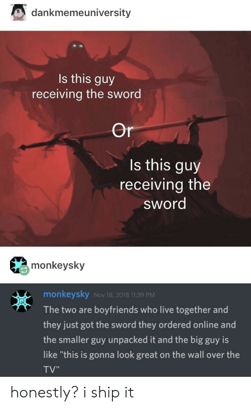 """the sword: dankmemeuniversity  Is this guy  receiving the sword  Or  Is this guy  receiving the  sword  monkeysky  monkeysky Nov 18, 2018 11:39 PM  The two are boyfriends who live together and  they just got the sword they ordered online and  the smaller guy unpacked it and the big guy is  like """"this is gonna look great on the wall over the  TV"""" honestly? i ship it"""