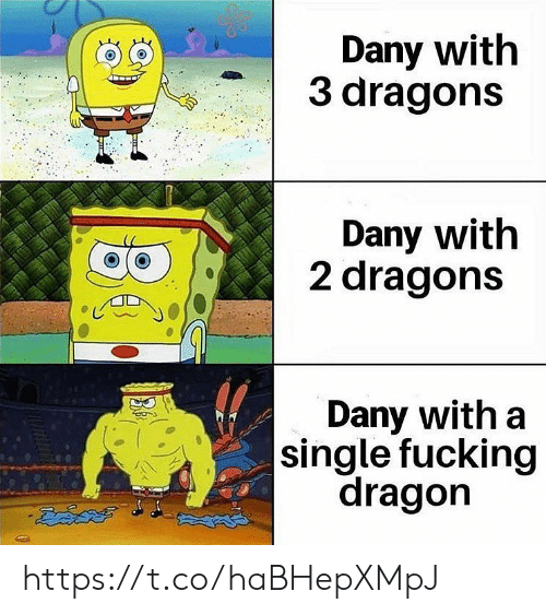 Fucking, Memes, and Dragons: Dany with  3 dragons  Dany with  2 dragons  Dany with a  |single fucking  dragon https://t.co/haBHepXMpJ