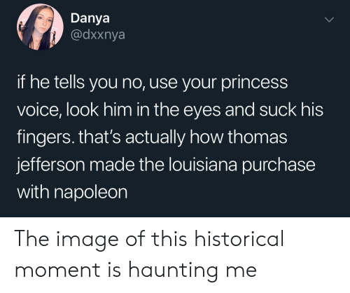 Historical: Danya  @dxxnya  if he tells you no, use your princess  voice, look him in the eyes and suck his  fingers. that's actually how thomas  jefferson made the louisiana purchase  with napoleon The image of this historical moment is haunting me