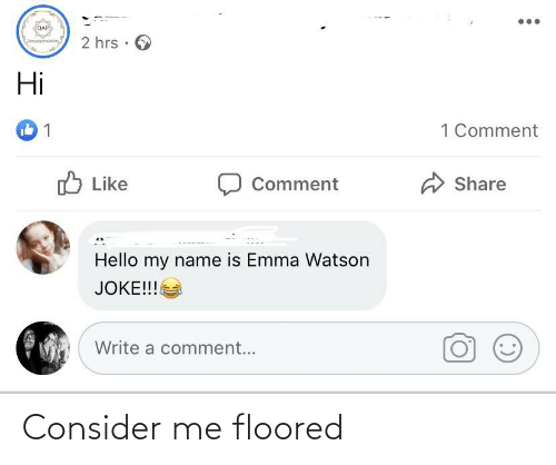 floored: DAP  2 hrs · 6  Speuataein  Hi  1 Comment  O Like  Comment  Share  Hello my name is Emma Watson  JOKE!!!  Write a comment... Consider me floored