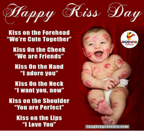 """now kiss: Dappy at  Kiss on the Forehead  """"We're Cute Together""""  Kiss On the Cheek  """"We are Friends""""  Kiss On the Hand  """"I adore you""""  Kiss On the Neck  T Want you, now  Kiss on the Shoulder  """"You are Perfect""""  Kiss on the Lips  """"I Love You""""  laughing colours.co"""