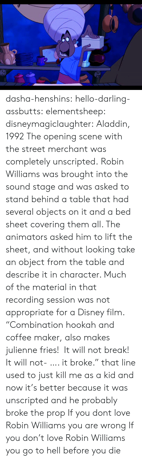 "Aladdin: dasha-henshins: hello-darling-assbutts:  elementsheep:  disneymagiclaughter:  Aladdin, 1992 The opening scene with the street merchant was completely unscripted. Robin Williams was brought into the sound stage and was asked to stand behind a table that had several objects on it and a bed sheet covering them all. The animators asked him to lift the sheet, and without looking take an object from the table and describe it in character. Much of the material in that recording session was not appropriate for a Disney film.   ""Combination hookah and coffee maker, also makes julienne fries!  It will not break! It will not- …. it broke."" that line used to just kill me as a kid and now it's better because it was unscripted and he probably broke the prop  If you dont love Robin Williams you are wrong   If you don't love Robin Williams you go to hell before you die"