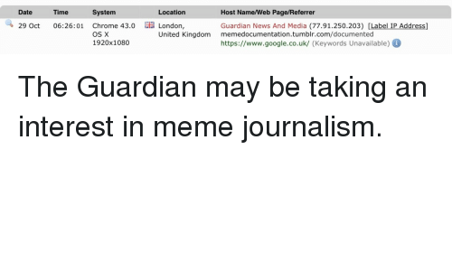 os x: Date  Time  System  Location  Host Name/Web Page/Referrer  Guardian News And Media (77.91.250.203) [Label IP Address]  https://www.google.co.uk/ (Keywords Unavailable)  29 Oct 06:26:01 Chrome 43.0 E  London,  United Kingdom memedocumentation.tumblr.com/documented  OS X  1920x1080 <p>The Guardian may be taking an interest in meme journalism.</p>