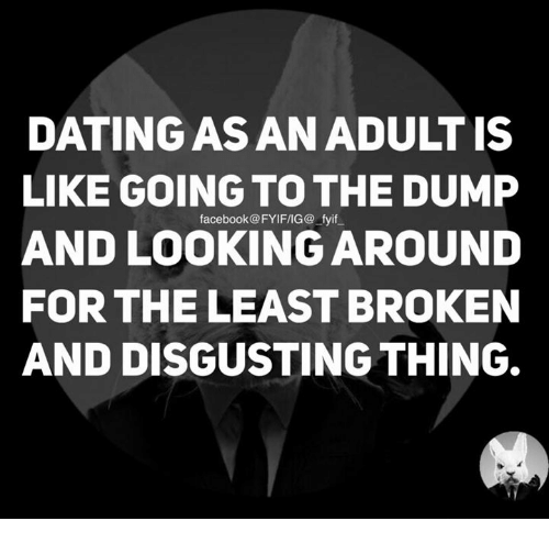 the dump: DATINGAS AN ADULT IS  LIKE GOING TO THE DUMP  facebook@FYIFIIG@ fyif  AND LOOKING AROUND  FOR THE LEAST BROKEN  AND DISGUSTING THING.