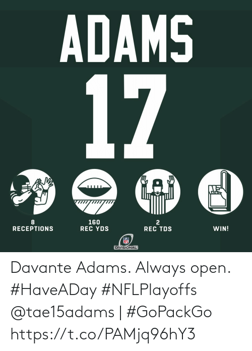 open: Davante Adams. Always open. #HaveADay #NFLPlayoffs   @tae15adams | #GoPackGo https://t.co/PAMjq96hY3