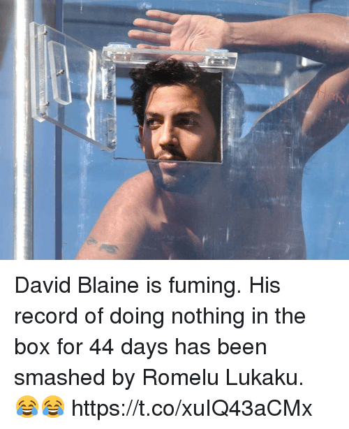 Soccer, Record, and David Blaine: David Blaine is fuming. His record of doing nothing in the box for 44 days has been smashed by Romelu Lukaku. 😂😂 https://t.co/xuIQ43aCMx