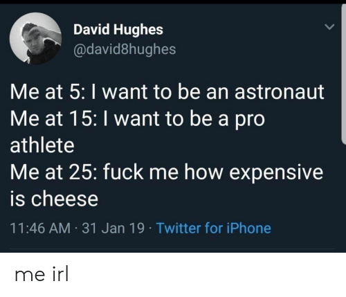 Iphone, Twitter, and Fuck: David Hughes  @david8hughes  Me at 5: I want to be an astronaut  Me at 15: I want to be a pro  athlete  Me at 25: fuck me how expensive  is cheese  11:46 AM 31 Jan 19 Twitter for iPhone me irl