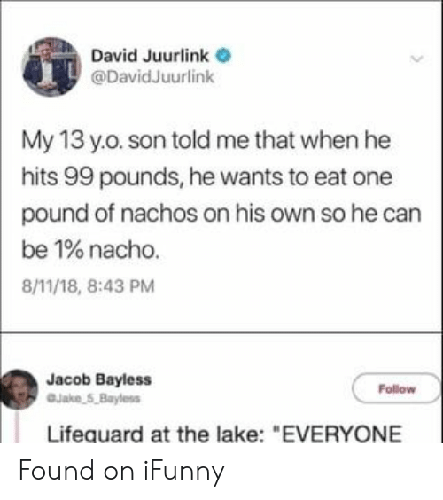 "Pound, Can, and One: David Juurlink  @DavidJuurlink  My 13 y.o. son told me that when he  hits 99 pounds, he wants to eat one  pound of nachos on his own so he can  be 1% nacho.  8/11/18, 8:43 PM  Jacob Bayless  Jake 5,Bayless  Follow  Lifequard at the lake: ""EVERYONE Found on iFunny"