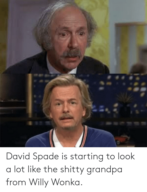 shitty: David Spade is starting to look a lot like the shitty grandpa from Willy Wonka.