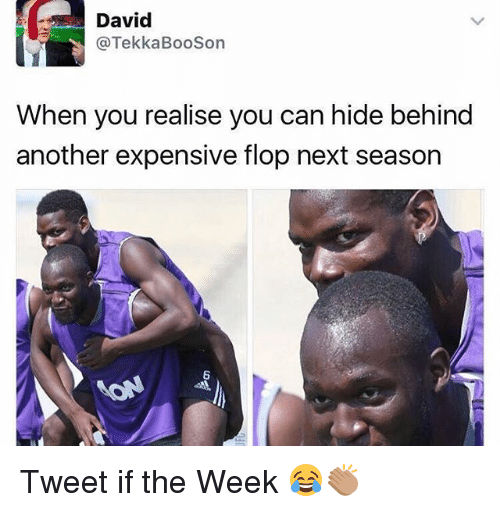 Flopping: David  @TekkaBooSon  When you realise you can hide behind  another expensive flop next season  6 Tweet if the Week 😂👏🏽
