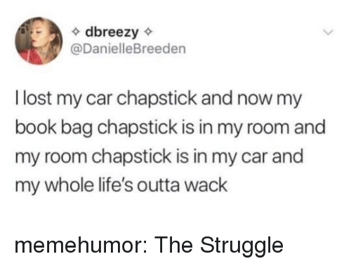 Struggle, Tumblr, and Lost: dbreezy  @DanielleBreeden  l lost my car chapstick and now my  book bag chapstick is in my room and  my room chapstick is in my car and  my whole life's outta wack memehumor:  The Struggle