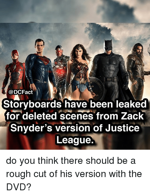 Memes, Justice, and Justice League: @DCFact  Storyboards have been leaked  for deleted scenes from Zack  Snyder's version of Justice  League do you think there should be a rough cut of his version with the DVD?