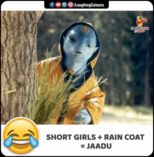Girls, Rain, and Indianpeoplefacebook: DCLaughingColours  f  LAYGHING  Colours  SHORT GIRLS  RAIN COAT  = JAADU