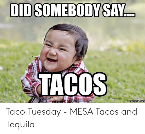 Taco Tuesday Meme: DDSOMEBODY SAY  TACOS Taco Tuesday - MESA Tacos and Tequila