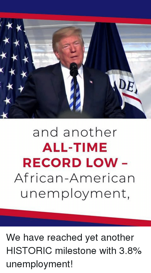 American, Record, and Time: DE  and another  ALL-TIME  RECORD LOW  African-American  unemployment, We have reached yet another HISTORIC milestone with 3.8% unemployment!
