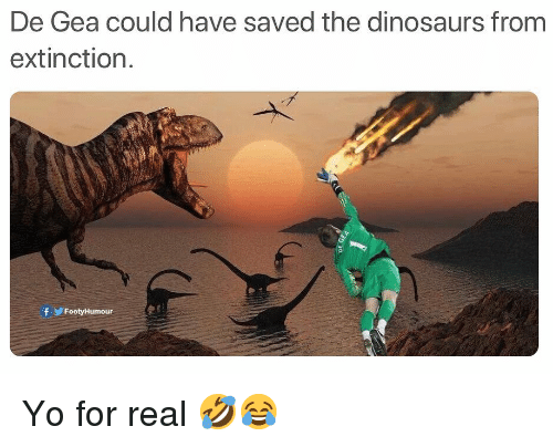 De Gea: De Gea could have saved the dinosaurs from  extinction.  fFootyHumour Yo for real 🤣😂