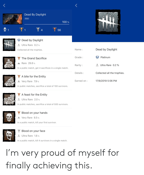 Ps4, Survivor, and Match: Dead By Daylight  PS4  100%  T 4  1  1  56  Dead by Daylight  Ultra Rare 0.2 %  Dead by Daylight  Name:  Collected all the trophies.  Grade  Platinum  The Grand Sacrifice  Rare 29.8 %  Rarity  Ultra Rare 0.2 %  In a public match, get 4 sacrifices in a single match.  Collected all the trophies.  Details:  A bite for the Entity  Earned on  17/9/2019 5:06 PM  Very Rare 7.9 %  In public matches, sacrifice a total of 100 survivors.  A feast for the Entity  Ultra Rare 2.0 %  In public matches, sacrifice a total of 500 survivors.  Blood on your hands  Very Rare 8.5%  In a public match, kill your first survivor.  Blood on your face  Ultra Rare 1.6 %  In a public match, kill 4 survivors in a single match. I'm very proud of myself for finally achieving this.