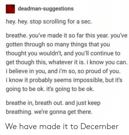 So Proud Of You: deadman-suggestions  hey. hey. stop scrolling for a sec.  breathe. you've made it so far this year. you've  gotten through so many things that you  thought you wouldn't, and you'll continue to  get though this, whatever it is. i know you can.  i believe in you, and i'm so, so proud of you  i know it probably seems impossible, but it's  going to be ok. its going to be ok.  breathe in, breath out. and just keep  breathing. we're gonna get there We have made it to December