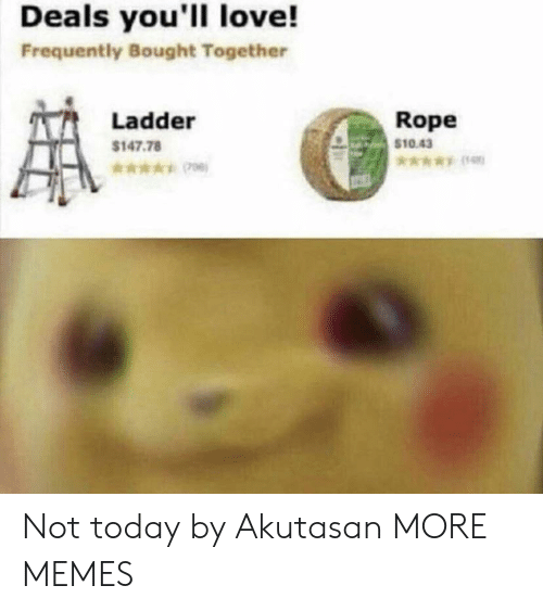 Ladder: Deals you'll love!  Frequently Bought Together  Rope  $10.43  Ladder  $147.78  *006) Not today by Akutasan MORE MEMES
