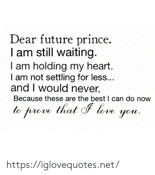 Still Waiting: Dear future prince.  I am still waiting.  I am holding my heart.  I am not settling for less...  and I would never.  Because these are the best I can do now  to prove thal love https://iglovequotes.net/