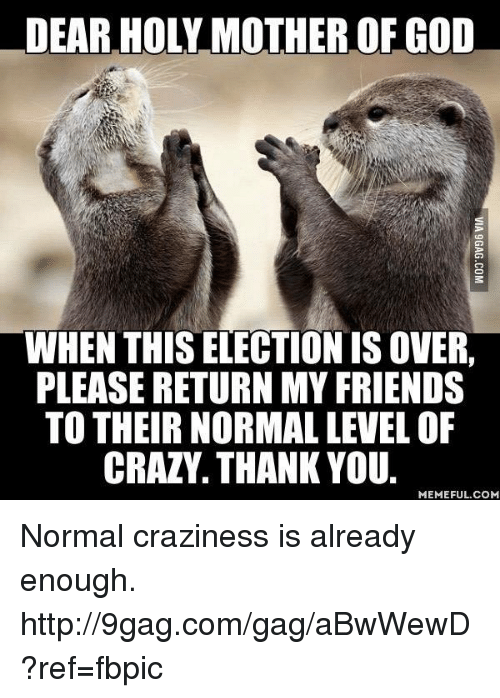 Thank You Meme: DEAR HOLY MOTHER OF GOD  WHEN THIS ELECTION IS OVER.  PLEASE RETURNMY FRIENDS  TO THEIR NORMAL LEVEL OF  CRAZY. THANK YOU.  MEMEFUL COM Normal craziness is already enough. http://9gag.com/gag/aBwWewD?ref=fbpic