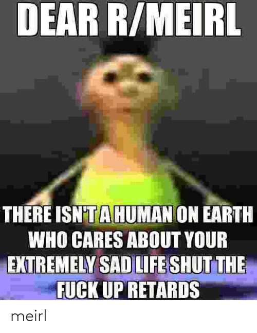 Cares: DEAR R/MEIRL  THERE ISN'TAHUMAN ON EARTH  WHO CARES ABOUT YOUR  EXTREMELY SAD LIFE SHUT THE  FUCK UP RETARDS meirl