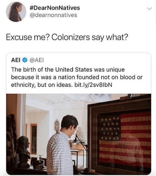 United, United States, and Blood:  #DearNonNatives  @dearnonnatives  Excuse me? Colonizers say what?  AEI @AEI  The birth of the United States was unique  because it was a nation founded not on blood or  ethnicity, but on ideas. bit.ly/2sv8lbN