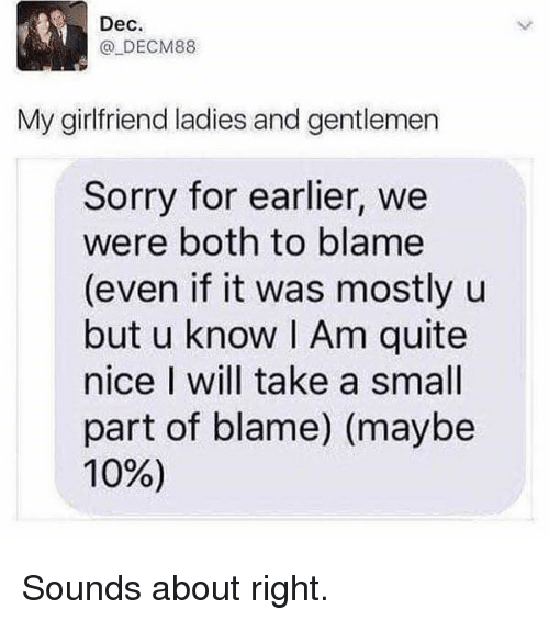 Memes, Sorry, and Quite: Dec  @ DECM88  My girlfriend ladies and gentlemen  Sorry for earlier, we  were both to blame  (even if it was mostly u  but u know I Am quite  nice I will take a small  part of blame) (maybe  10%) Sounds about right.