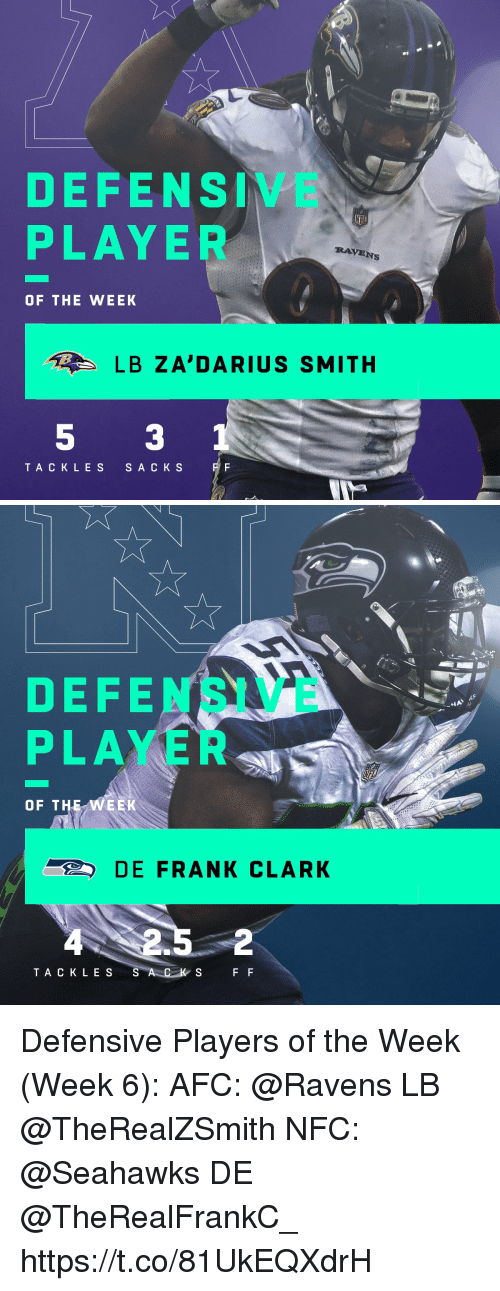 Memes, Ravens, and Seahawks: DEFENSIVE  PLAYE  RAVENs  OF THE WEEK  LB ZA'DARIUS SMITH  TACKLES  S A C K S   DEFENSIVE  PLAYER  OF THE WEEK  DE FRANK CLARK  2  TA CK LES  S A C K  S F F Defensive Players of the Week (Week 6):  AFC: @Ravens LB @TheRealZSmith  NFC: @Seahawks DE @TheRealFrankC_ https://t.co/81UkEQXdrH