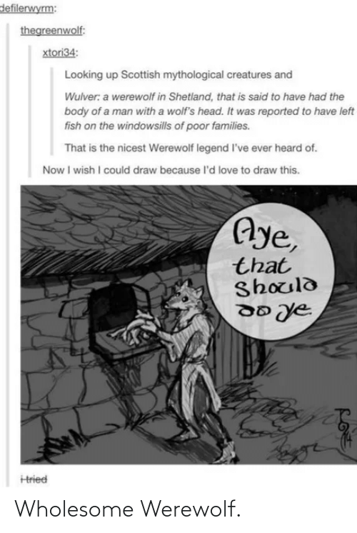 legend: defilerwyrm:  thegreenwolf:  xtori34:  Looking up Scottish mythological creatures and  Wulver: a werewolf in Shetland, that is said to have had the  body of a man with a wolf's head. It was reported to have left  fish on the windowsills of poor families.  That is the nicest Werewolf legend l've ever heard of.  Now I wish I could draw because l'd love to draw this.  Aye,  that  Should  Hried Wholesome Werewolf.
